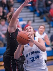 Wynford's Savannah Tobias looks to shoot past Buckeye