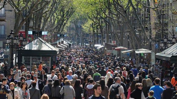 Rush hour on La Rambla in Barcelona.