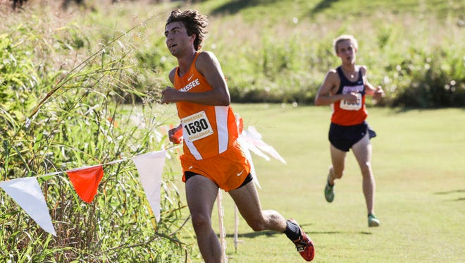 Zach Long of Tennessee makes his way around the Cherokee Farm course at the Tennessee Challenge earlier this season.