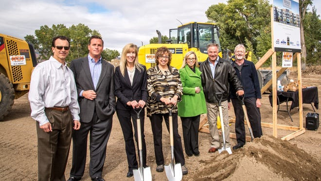 From left to right, Jim Zaccheo of Greenstreet Companies, Ryan Patterson of Vintage Housing, C.J. Manthe Nevada Housing Division, Councilmember Naomi Duerr, Mayor Hillary Schieve, Dane Hillyard of Greenstreet Companies, Desmond Craig, city senior planner for community housing.