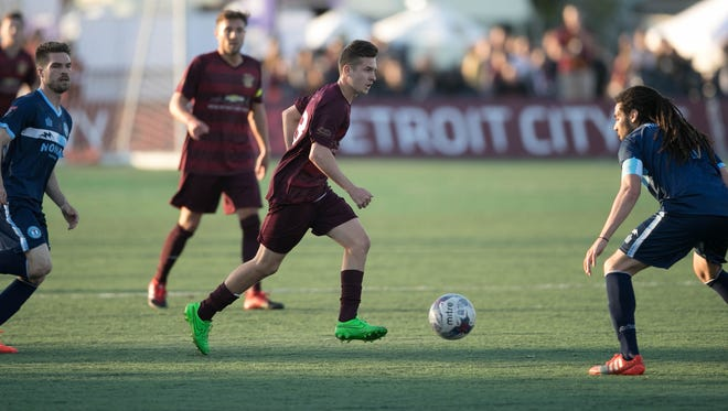 Detroit City FC midfielder Bakie Goodman advances the ball against the Milwaukee Torrent during the first half Friday, May 12, 2017 at Keyworth Stadium in Hamtramck.