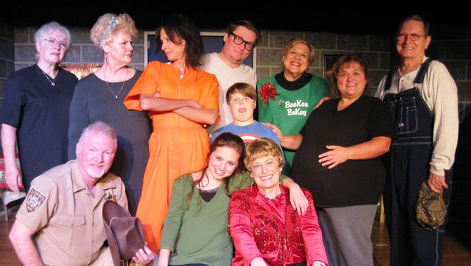 Christmas Belles cast  Front L-R: Dan Reynolds, Helen Sampson, Sue Howe   Middle: Deb Smith, Suzanne Sampson, Banks Gregory, Karen McKaig  Back: Barbara Weatherby, Bo Gregory, Debby Stanuch, Clark Middleton