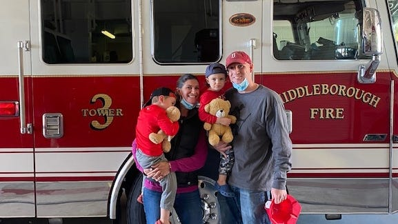 The Fernandes family of Middleborough recently made a donation of Cuddle Bears to the Middleborough Fire Department for firefighters to give to children in need. From left, Mason, Jill, Jack and Gregg Fernandes.