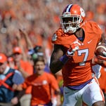 Clemson wide receiver Mike Williams (7) makes a 56 yard touchdown reception against N.C. State on Saturday.