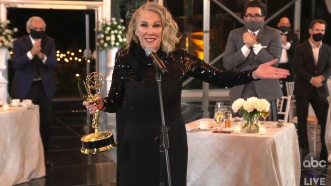 "In this video grab captured on Sept. 20, 2020, courtesy of the Academy of Television Arts & Sciences and ABC Entertainment, Catherine O'Hara accepts the award for outstanding lead actress in a comedy series for ""Schitt's Creek"" during the 72nd Emmy Awards broadcast."