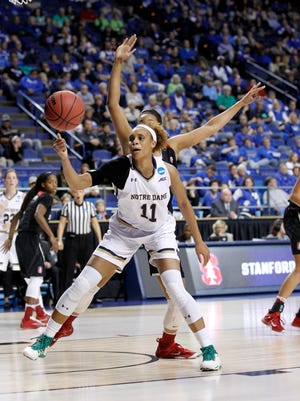 Notre Dame Fighting Irish forward Brianna Turner (11) rebounds the ball against the Stanford Cardinal during the first half in the semifinals of the Lexington regional of the women's NCAA Tournament at Rupp Arena.