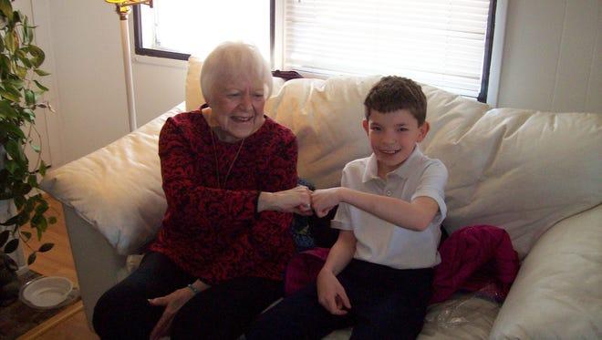 Mrs. Kathy Ryan meets her pen pal Bryce Nickel.