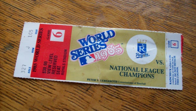 Game 6 ticket from the 1985 MLB World Series between the Kansas City Royals and St. Louis Cardinals.