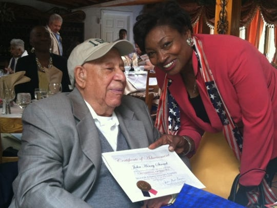 John Stroud on his 100th birthday with state. Sen.