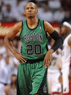 Boston Celtics shooting guard Ray Allen reacts during the first half in Game 1 of the 2012 Eastern Conference finals.