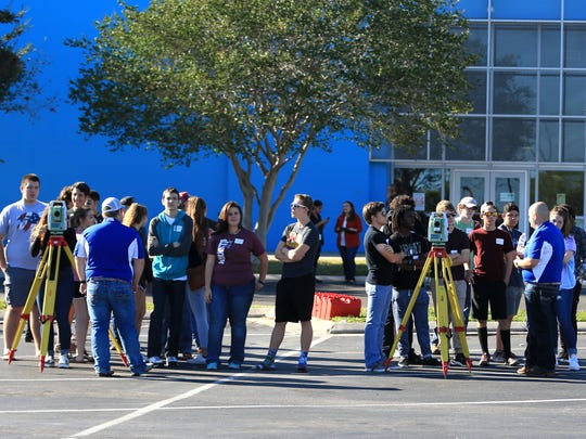 Students from Flour Bluff High School learn about geographic information system mapping on Wednesday, Nov. 16, 2016 during the Map Your Career with Geographic Information Systems event at the Del Mar College Economic Development Center. About 800 students from across the Coastal Bend attended the event.