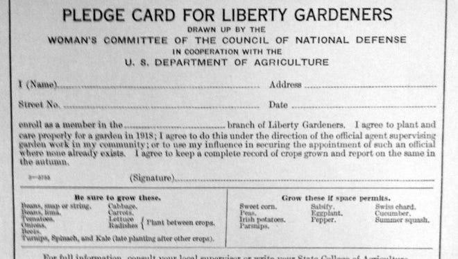 1918 Liberty Garden pledge card,