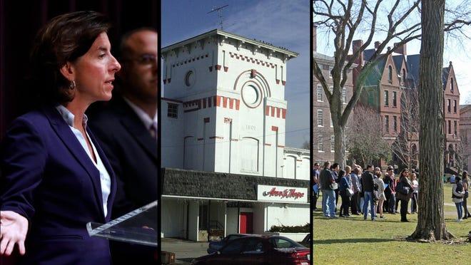 Gov. Raimondo's Monday coronovirus briefing, Ann & Hope in Cumberland, Brown University campus.