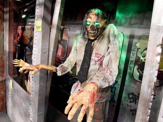 An animated zombie on display at the Spirit Halloween store at Willow Oak Plaza shopping center in Waynesboro on Thursday, Oct. 22, 2015.