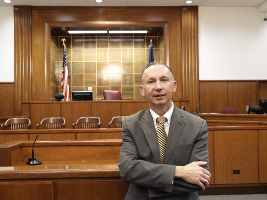 Commonwealth's Attorney David Ledbetter is photographed in the courtroom in the Waynesboro Circuit Courts building on Tuesday, Jan. 19, 2016.