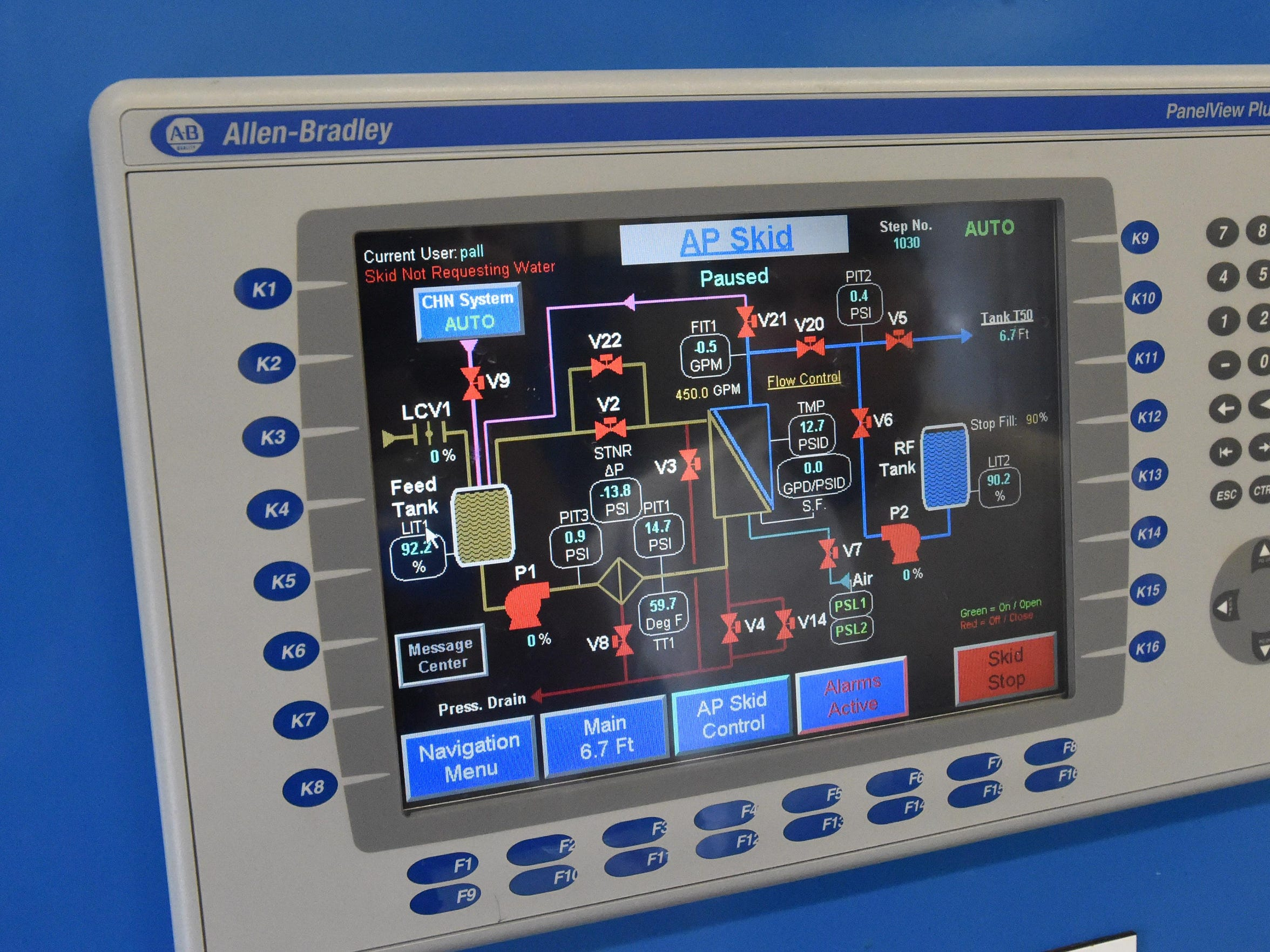 A diagram of the system is displayed on a control panel within the Berry Farm water treatment plant near Verona on Wednesday, March 16, 2016. The facility treats approximately 1 million gallons of water each day and is one of seven filter plants, among the several different sources of water for county.