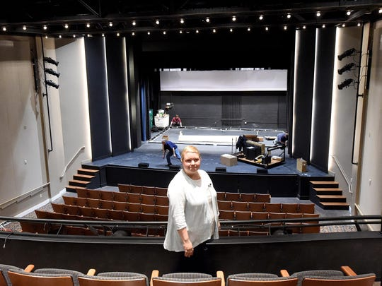 Tracy Straight, executive director of the Wayne Theatre/Ross Performing Arts Center, stands in the balcony on Feb. 29