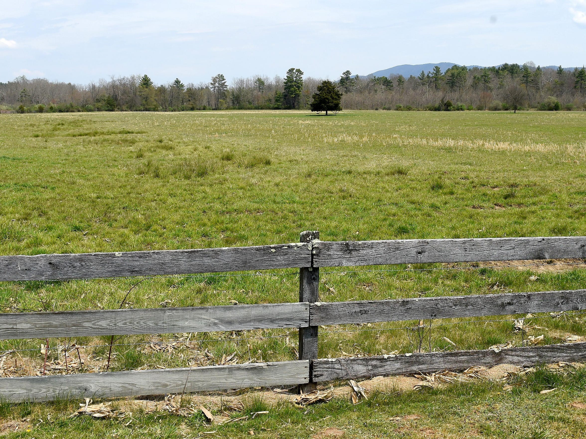 The field through which Dominion's alternate route for their proposed Atlantic Coast Pipeline would likely cross property belonging to Scott Ballin and his family near Deerfield.