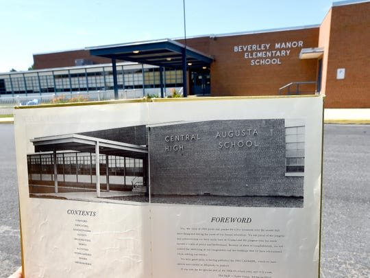 A photograph in a yearbook from the 1960s shows the front of Central Augusta High School and is compared to what the front of the school, now named Beverley Manor Elementary, looks like today.