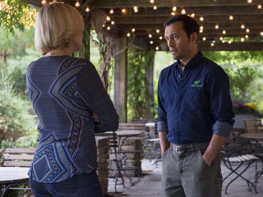 Malin Akerman as Lara Axelrod and Omar Gonzalez as Tito in Billions. This scene shows Wellfleet, the farm-to-table restaurant Lara owns. In real life, this Campagna in Bedford.