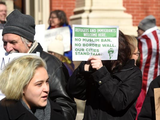 Immigration policy protest in Staunton