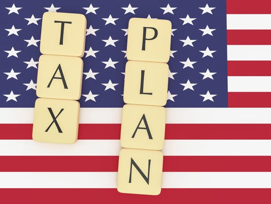USA Politics News Concept: Letter Tiles Tax Plan On US Flag, 3d illustration