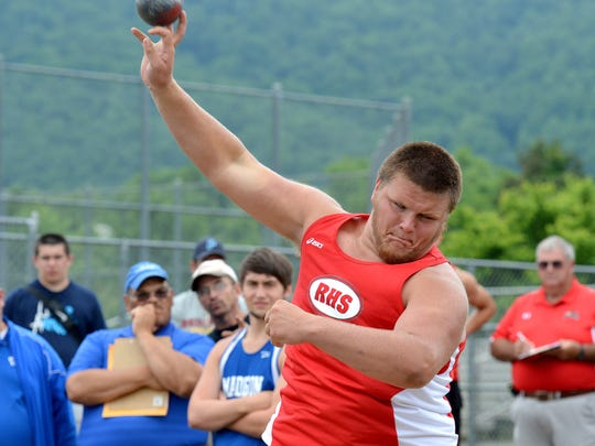 Riverheads' Michael Herndon heaves the shot put during the Group 2A East Track and Field Championships in Charlottesville on Friday. Herndon placed first in the event.