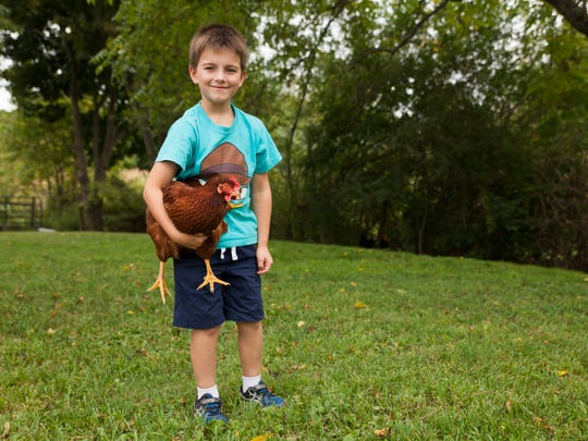 Jonah Funk, 8, holds one of his family's chickens in the backyard of their home in Fishersville on Tuesday, Sept. 9, 2014.