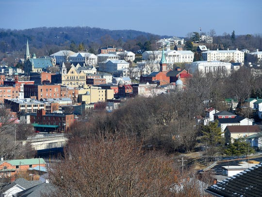 Downtown Staunton and the campus of Mary Baldwin College are visible from the intersection of West Gay and Perry streets in Staunton on Thursday, Jan. 15, 2015.