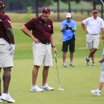 Mississippi State coach Dan Mullen pairs up with former Bulldog Fred McCray for a charity golf tournament.