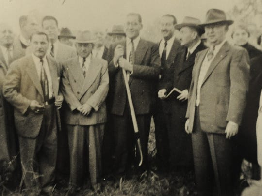 The groundbreaking ceremony for B'Nai Israel Synagogue at its current location on North 9th Avenue. In 1899, a small group of 11 men submitted the original application for establishing an Orthodox congregation. With the cooperation of Temple Beth-EI, the vestry room of the Temple on Chase Street became the first sanctuary of this small congregation. A little while later the congregation moved to the Oddfellows Hall at Baylen and Belmont.