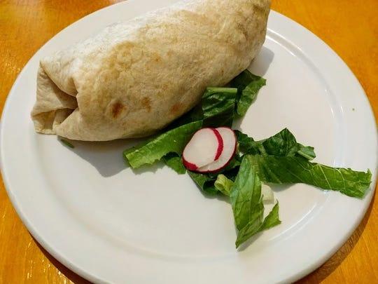 The potato and veggie burrito at La Luz in Old Town, Fort Collins.