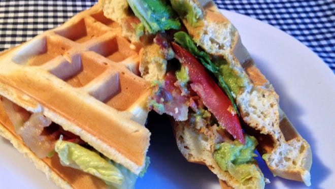 The classic BLT gets a makeover with avocado and waffle.