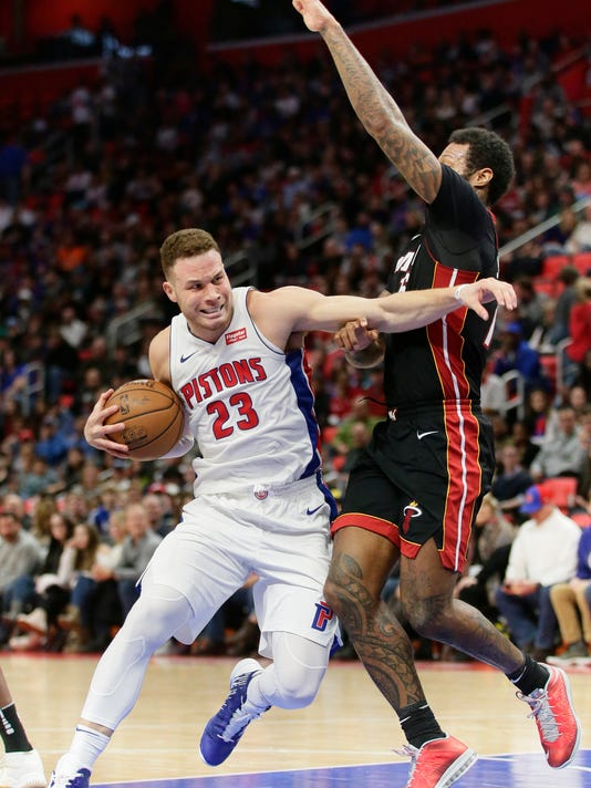 Detroit Pistons forward Blake Griffin (23) drives to the basket against Miami Heat forward James Johnson during the first half of an NBA basketball game Saturday, Feb. 3, 2018, in Detroit. (AP Photo/Duane Burleson)