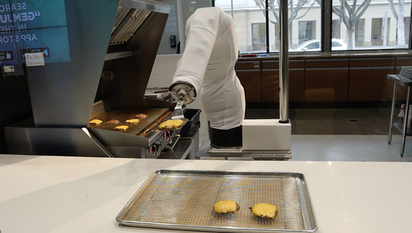 Flippy the robot hamburger flipper, in action at the