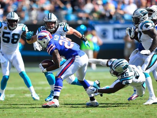 Sep 17, 2017; Charlotte, NC, USA; Buffalo Bills running