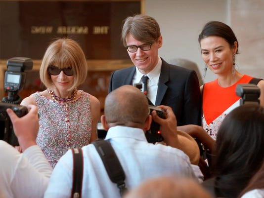 "Anna Wintour, from left, Andrew Bolton and Wendi Deng in a scene from ""The First Monday in May."""