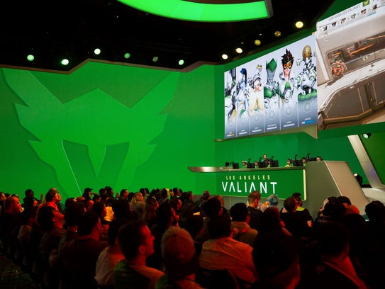 Members of the Los Angeles Valiant begin competition