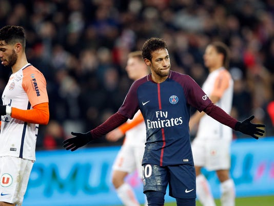 PSG's Neymar celebrates his goal during their French League One soccer match between Paris Saint Germain and Montpellier at the Parc des Princes stadium in Paris, Saturday, Jan. 27, 2018. (AP Photo/Christophe Ena)