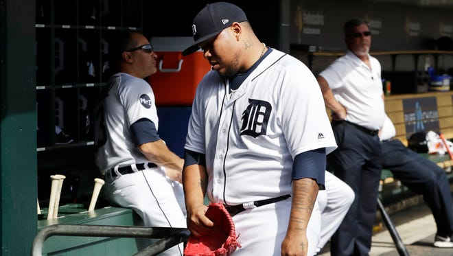 Tigers relief pitcher Bruce Rondon walks into the clubhouse after being relieved during the eighth inning of the Tigers' 7-5 loss Sunday at Comerica Park.