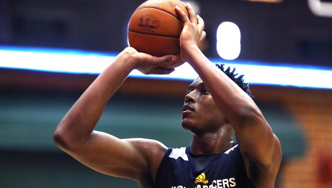 The Indiana Pacers' top draft pick Myles Turner, 11th overall, works out in practice on the first of three days of the Pacers' rookie/free agent camp that got underway on Wednesday, July 1, 2015 on the practice court at Bankers Life Fieldhouse in Indianapolis.