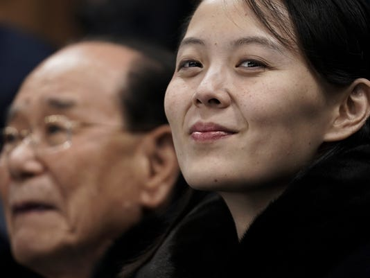 Kim Yo Jong, sister of North Korean leader Kim Jong Un, right, and North Korea's nominal head of state Kim Yong Nam, wait for the start of the preliminary round of the women's hockey game between Switzerland and the combined Koreas at the 2018 Winter Olympics in Gangneung, South Korea, Saturday, Feb. 10, 2018. (AP Photo/Felipe Dana)