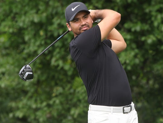 Jason Day teeing off on three.