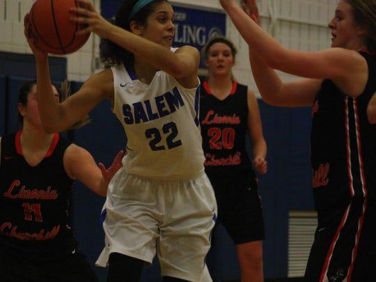 Salem's Lasha Petree (No. 22) looks for an open teammate