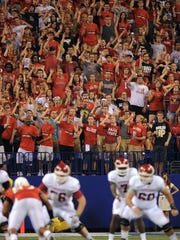 FILE -- Ball State's student section was loud in the fourth quarter of their game against IU on September 3, 2011, at Lucas Oil Stadium.