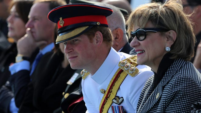 Britain's Prince Harry looks around as he attends the Turkish International Service at Mehmetcik Abide in the Gallipoli Peninsula, Turkey, Friday, April 24, 2015, as world leaders gather with the descendants of the fighters in Gallipoli, the memories of one of the most harrowing campaigns of the 20th century have come surging back to life. The doomed Allied offensive to secure a naval route from the Mediterranean to Istanbul through the Dardanelles, and take the Ottomans out of the war, resulted in over 130,000 deaths on both sides. (AP Photo/Burhan Ozbilici)
