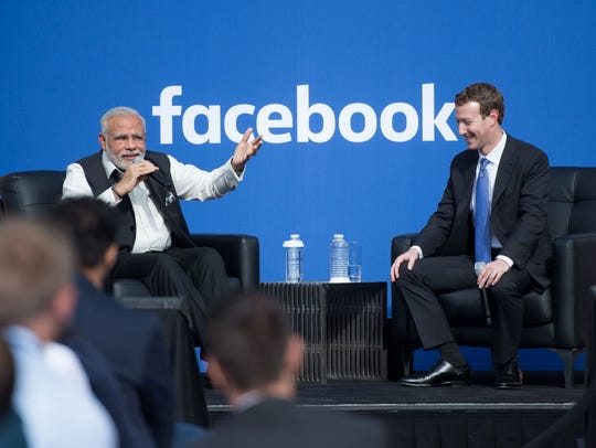Indian Prime Minister Narendra Modi and Facebook CEO