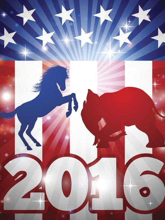 Election 2016 Donkey vs Elephant Concept