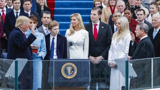 Donald J. Trump takes the oath of office as the 45th President of the United States on Friday.