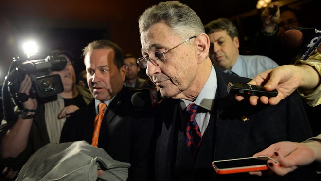 Assembly Speaker Sheldon Silver leaves his office at the Capitol building in Albany, N.Y., on Tuesday, Jan. 27, 2015. Silver, the longtime leader of the New York state Assembly, agreed to give up the position he has held for 21 years in the wake of federal corruption charges, a top lawmaker announced Tuesday. (AP Photo/The Daily Gazette, Patrick Dodson)